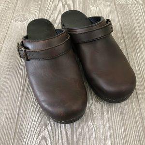 """Dansko """"Ingrid"""" Brown Oiled Leather Clogs"""